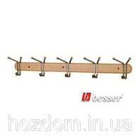 Вешалка для вещей, деревянная планка на 5