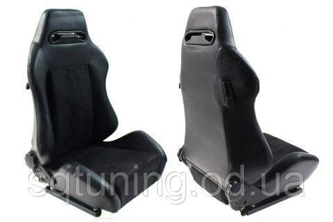 Спортивное сиденье R-LOOK (Черное, Эко-кожа + Велюр)