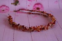 Обруч из крошки натурального камня сердолик