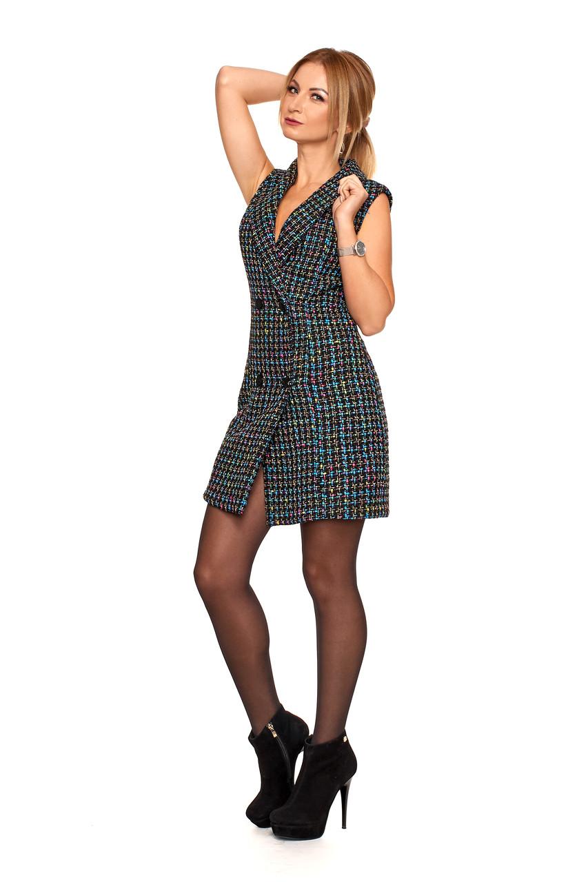 Деловое теплое женское платье №1107 (радуга)