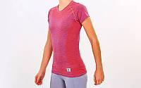 Футболка для фитнеса и йоги VSX розовая CO-7173-P