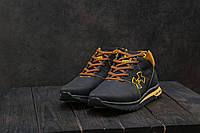 Мужские кроссовки кожаные зимние черные-рыжие CrosSAV 121, фото 1