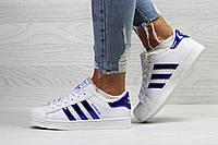 Кеды женские Adidas Superstar на зиму стильные теплые молодежные под джинсы (белые), ТОП-реплика