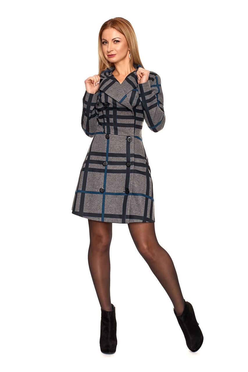 Теплое женское платье №1106 (серый с голубым)