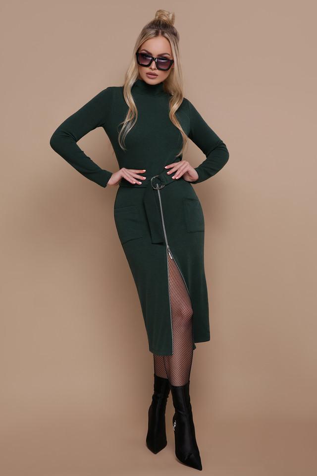 Женское платье гольф, размеры от 44 до 48, цвет изумруд, облегающее, повседневное, трикотажное, миди, тёплое