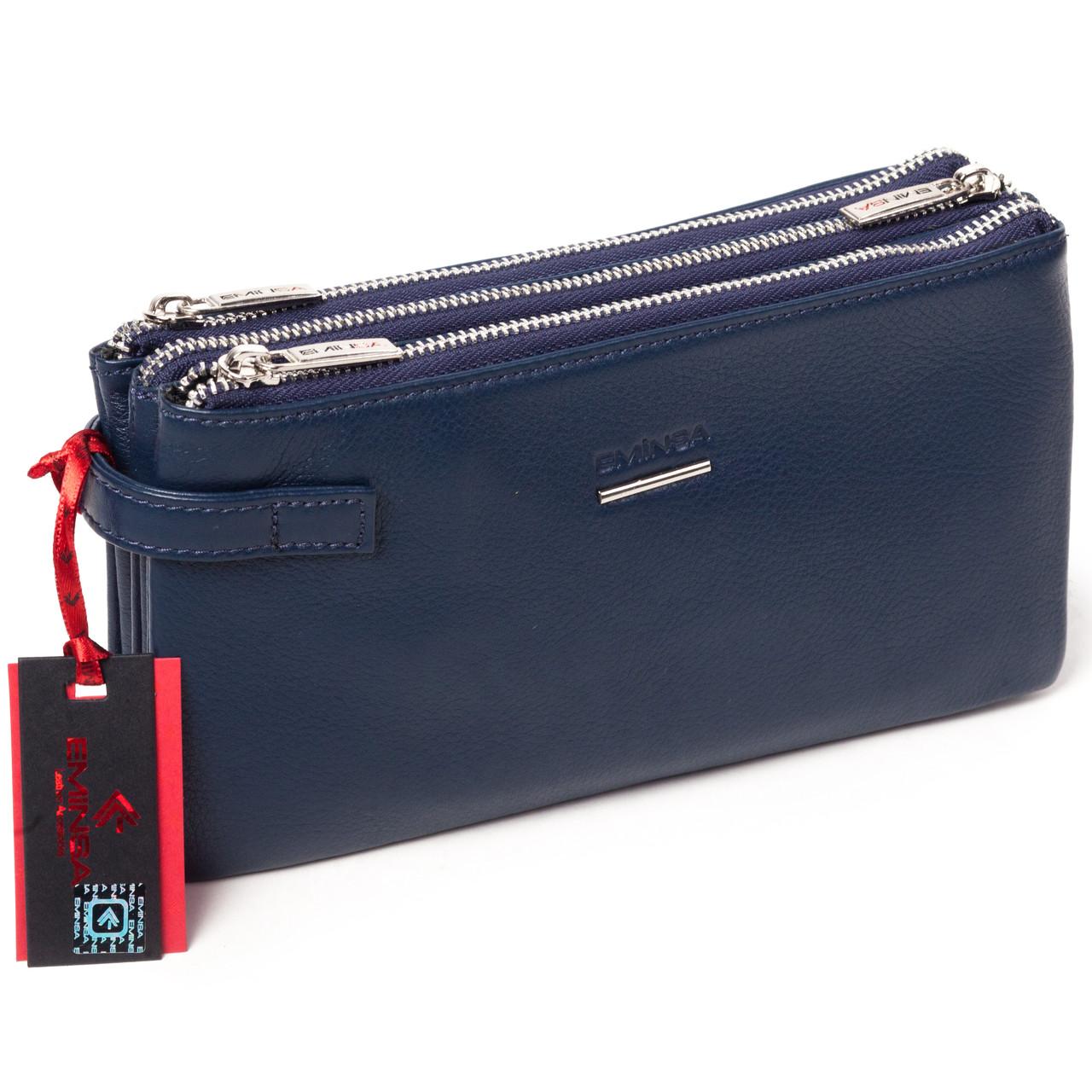Мужская сумка барсетка кожаная синяя Eminsa 5095-12-19
