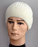 Контур ФЛИС, мужская зимняя шапка с отворотом+флис. ОГ 56-58. Белый.