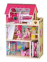 Деревянный кукольный дом Малиновая резиденция с лифтом +2 куклы