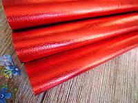 Экокожа (кожзам) глянцевая блестящая на тканевой основе, КРАСНЫЙ, 20х27 см, фото 1