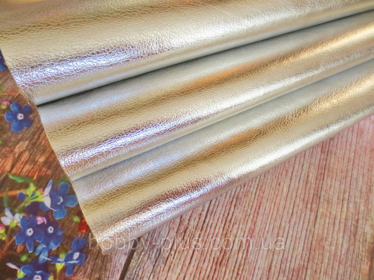 Экокожа (кожзам) глянцевая блестящая на тканевой основе, СЕРЕБРО, 20х27 см
