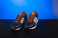 Подростковые кроссовки кожаные весна/осень синие-рыжие Yuves 85, фото 1