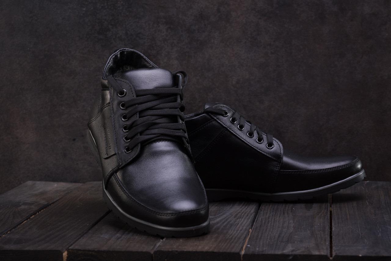 Ботинки мужские Vankristi 940 черные (натуральная кожа, зима)
