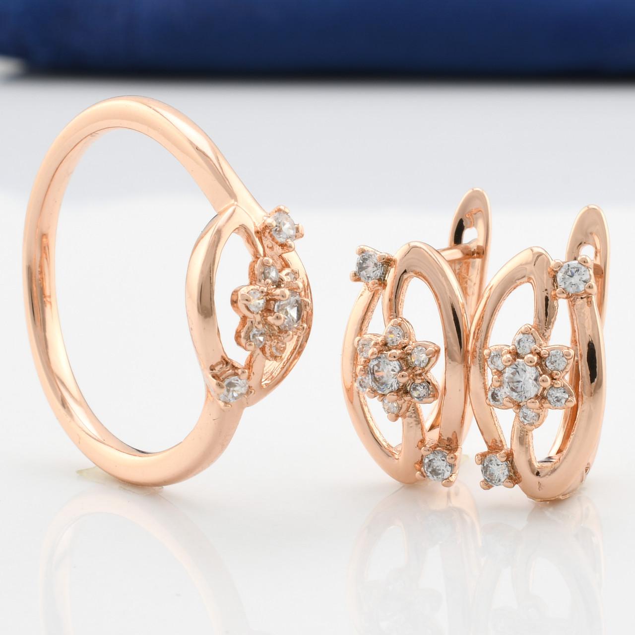 Набор  90178 кольцо размер 20 + серьги 15*8 мм, ,белые фианиты, позолота РО