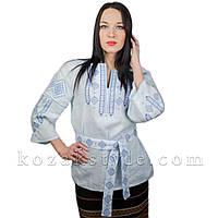 Традиційна жіноча вишиванка блакитна, фото 1