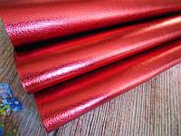 Экокожа (кожзам) глянцевая блестящая на тканевой основе, ТЕМНО-КРАСНЫЙ, 20х27 см, фото 1