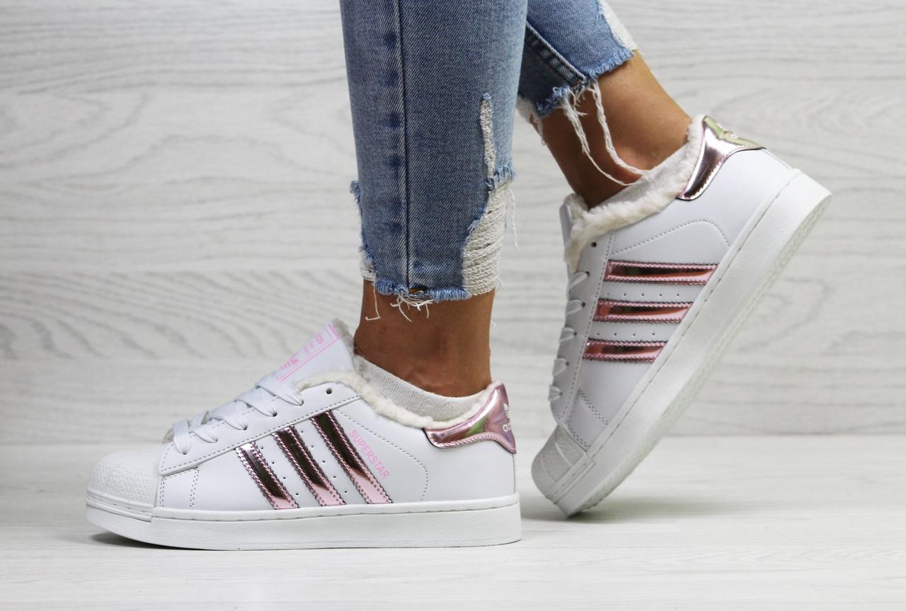 Зимние кеды женские Adidas Superstar теплые  молодежные кожаные на шнуровке под джинсы (белые), ТОП-реплика
