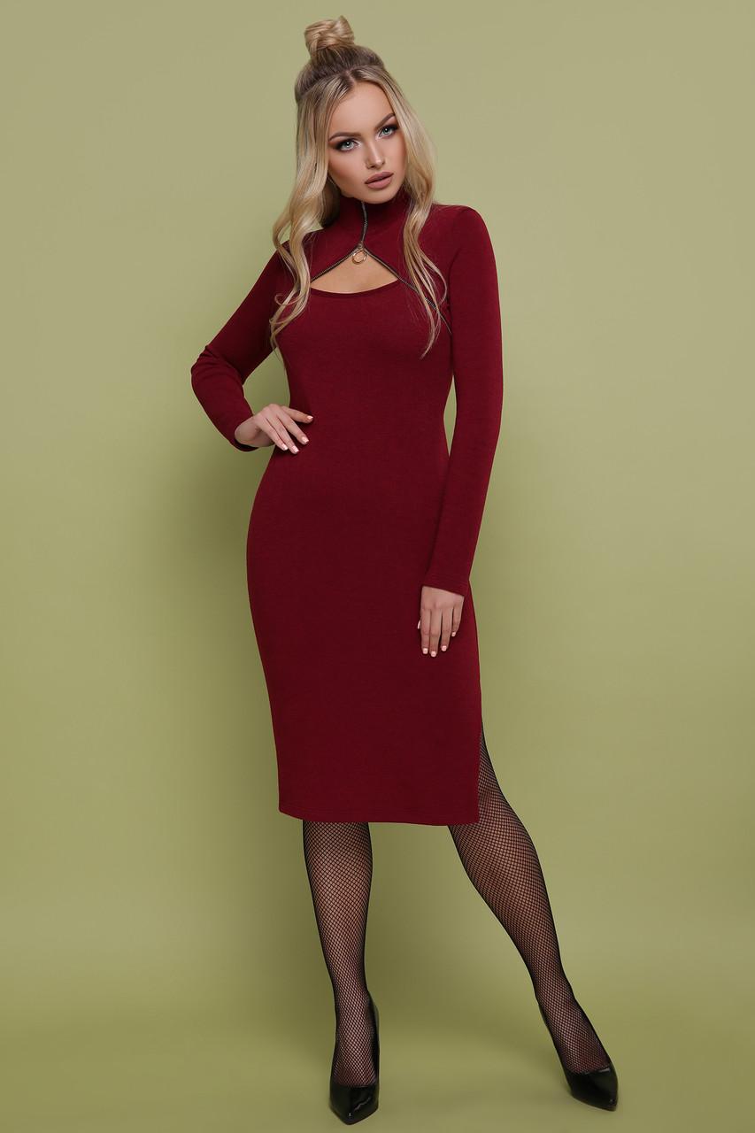 16004dceb6e7 Женское платье, размеры от 44 до 48, бордовое, облегающее, повседневное,  трикотажное, тёплое