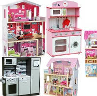 Деревянные домики для кукол, детские кухни, мастерские, киоски