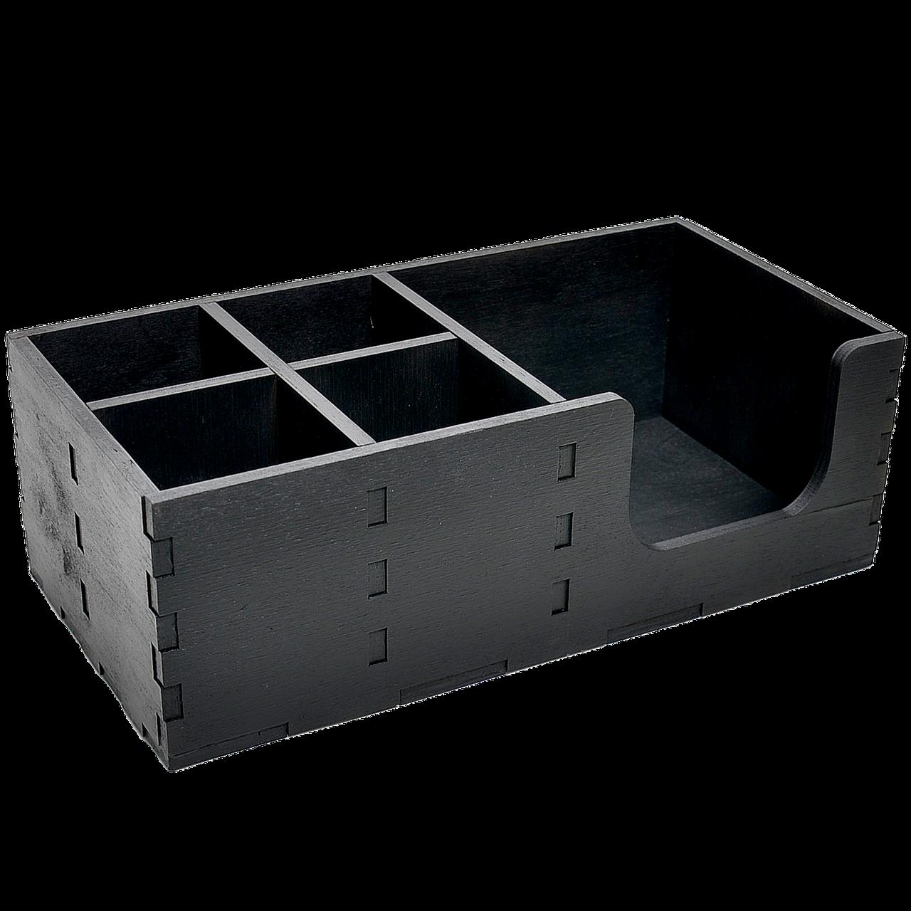Органайзер деревянный чёрный 30*15см