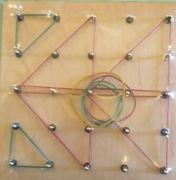 Математический планшет. Резиночки. Металлические штырьки.