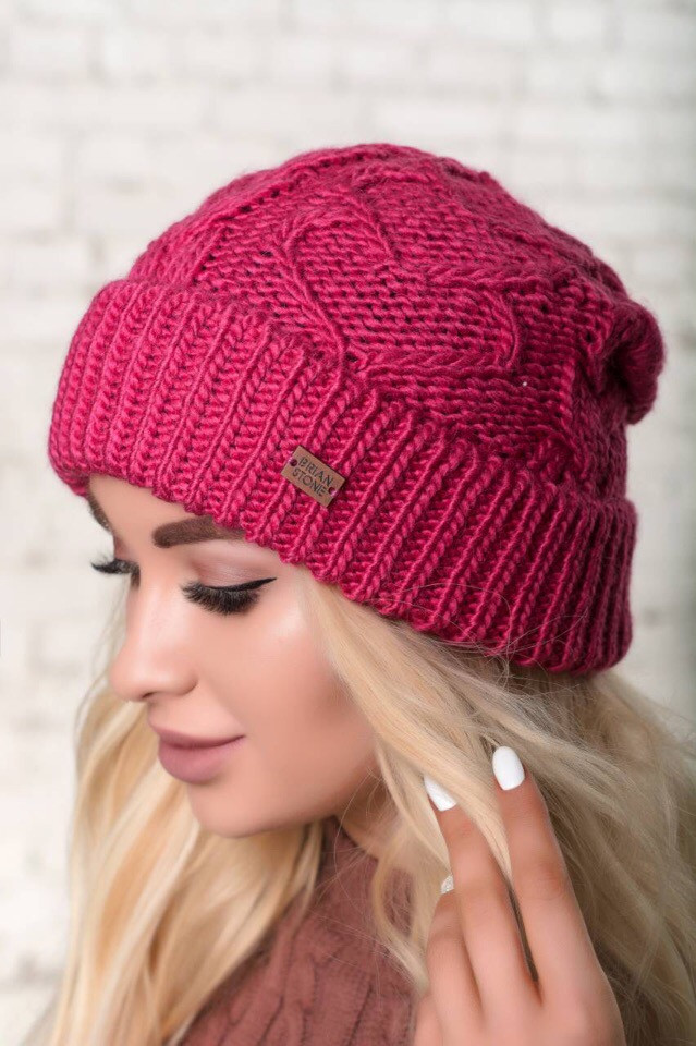 Женская  шапка объёмной вязки в расцветках. КБ-2-1018