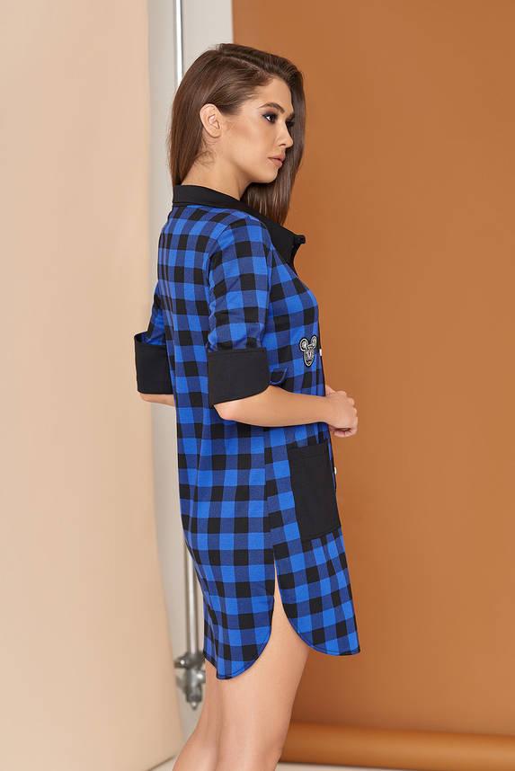 Трикотажное платье рубашка в клетку 44-54р синее, фото 2