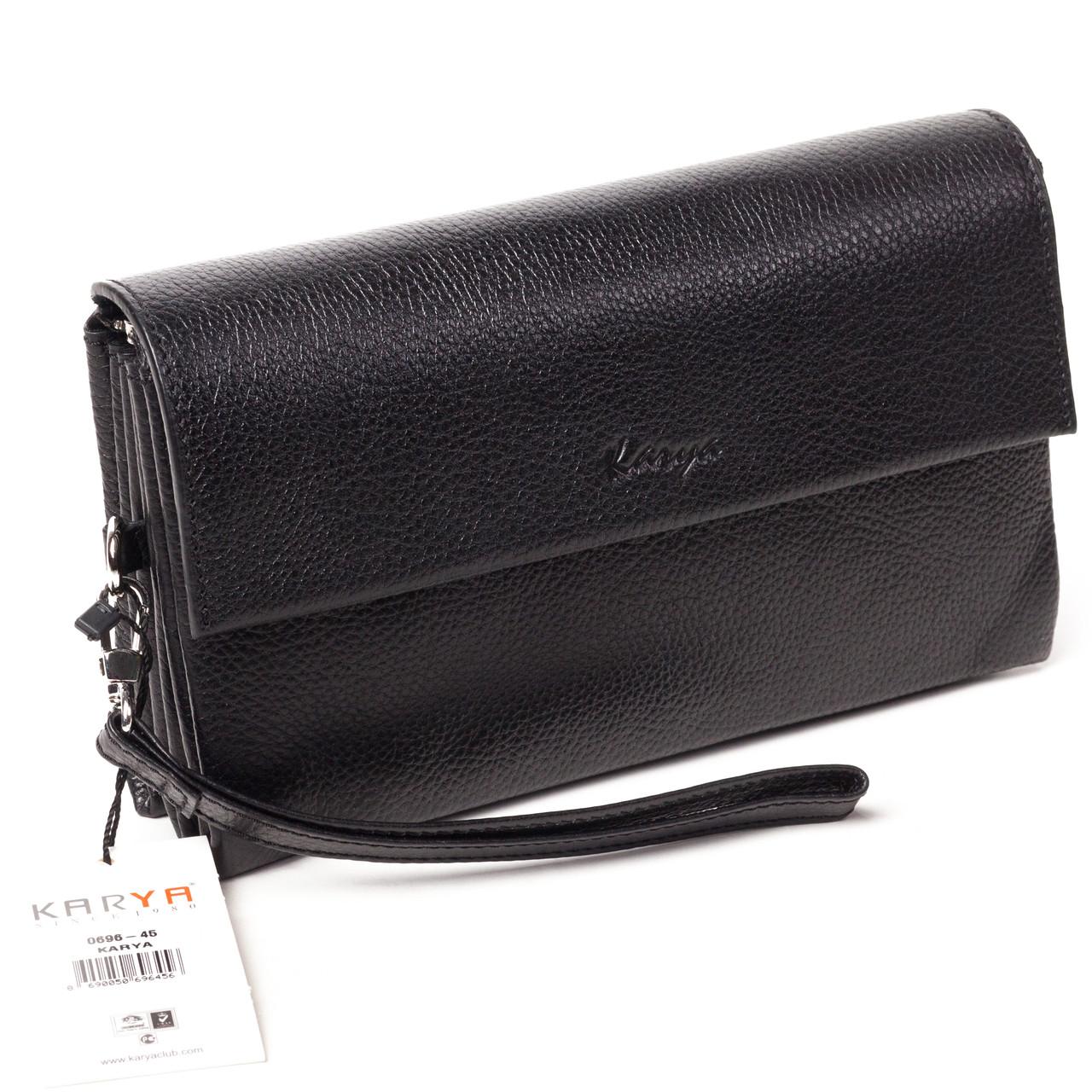 Мужская сумка барсетка кожаная чёрная Karya 0696-45