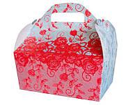Коробочка для выпечки с красными узорами