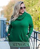 Удлиненный свитер «оверсайз» из тонкого мягкого трикотажа р. 50-58 , фото 3