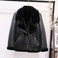 Женская теплая дубленка удлиненная Zara Woman черная М(44-46), фото 1