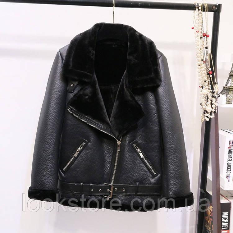 Женская теплая дубленка удлиненная Zara Woman черная М(44-46)