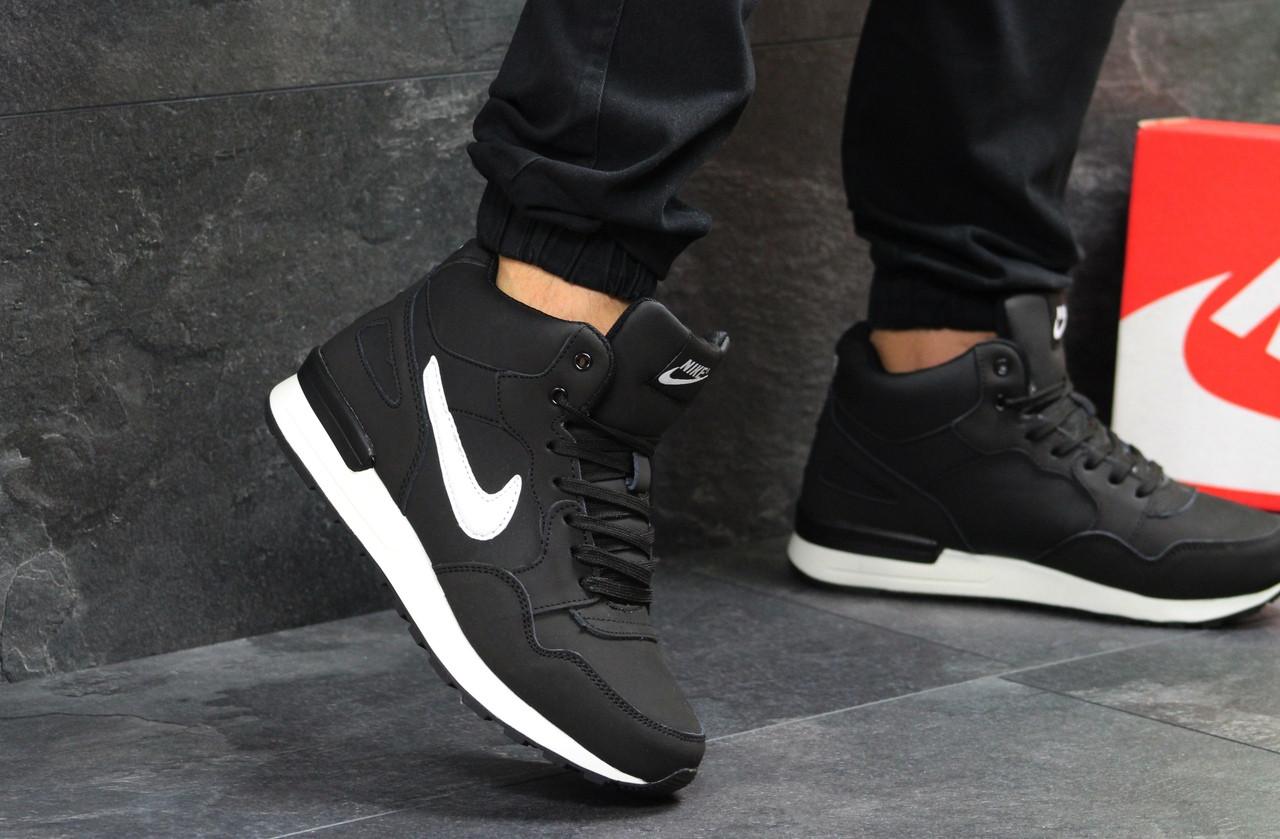 0a03102a Кроссовки мужские Nike зимние кожаные высокие повседневные найки (черные),  ТОП-реплика