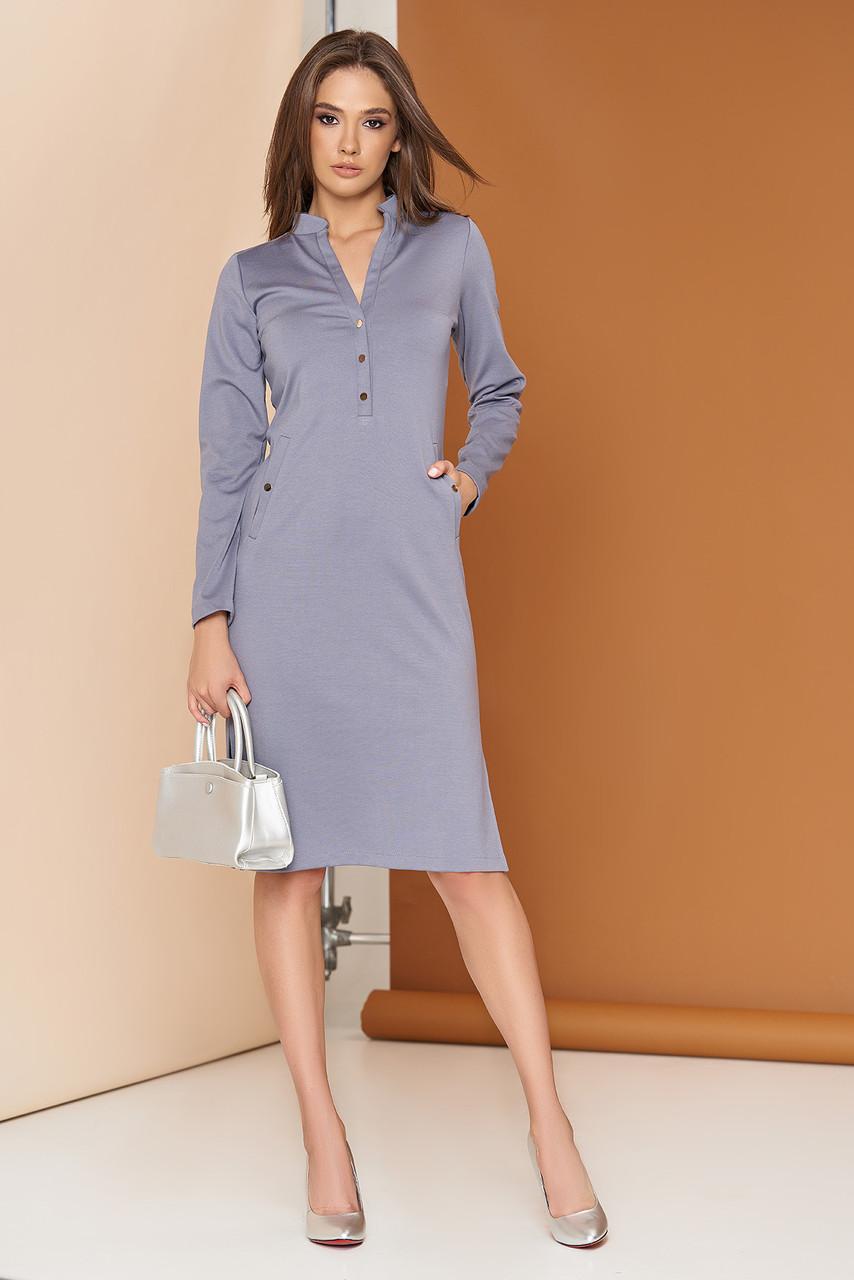 Элегантное платье на кнопках 44-54р серое