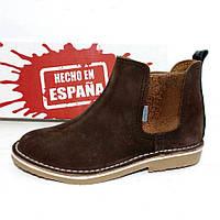 Женские замшевые ботинки Челси демисезон коричневые с бронзовым
