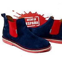 Женские замшевые ботинки Челси демисезон синие с красным