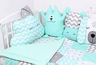 Комплект в дитяче ліжечко м'ятний з тваринками, фото 2