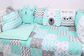 Комплект в дитяче ліжечко м'ятний з тваринками