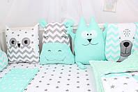 Комплект в дитяче ліжечко м'ятний з тваринками, фото 3