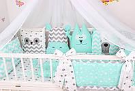 Комплект в дитяче ліжечко м'ятний з тваринками, фото 4