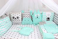 Комплект в дитяче ліжечко м'ятний з тваринками, фото 5