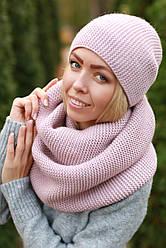 Комплект шапка и шарф снуд шерстяной