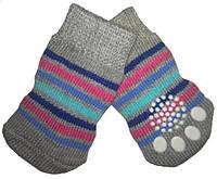 Носки для собак «Серые в полоску», размер M 4 шт.