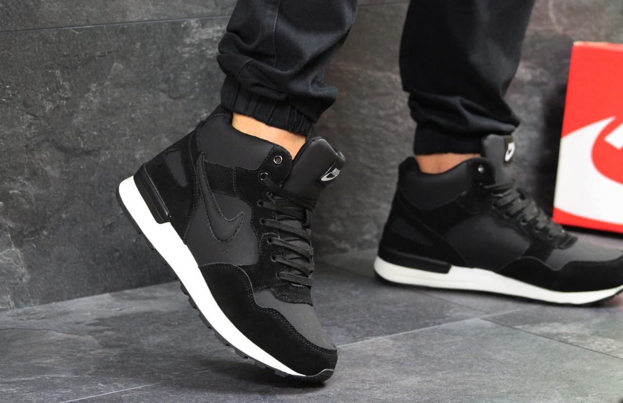 Кроссовки мужские Nike зимние кожа+замша на меху высокие найки  под джинсы (черные), ТОП-реплика