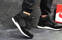 Кроссовки мужские Nike зимние кожа+замша на меху высокие найки  под джинсы (черные), ТОП-реплика, фото 1