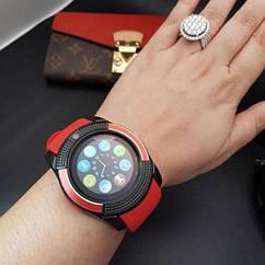Наручные смарт часы V8 Smart Watch красные. Лучшее качество