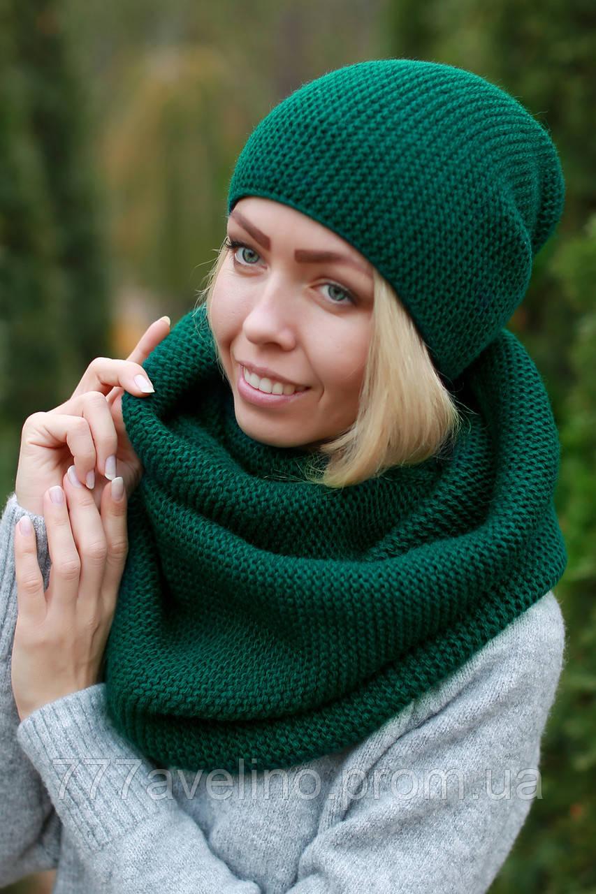 Комплект шапка і шарф снуд вовняний