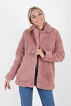 Зимний женский полушубок в розовом цвете