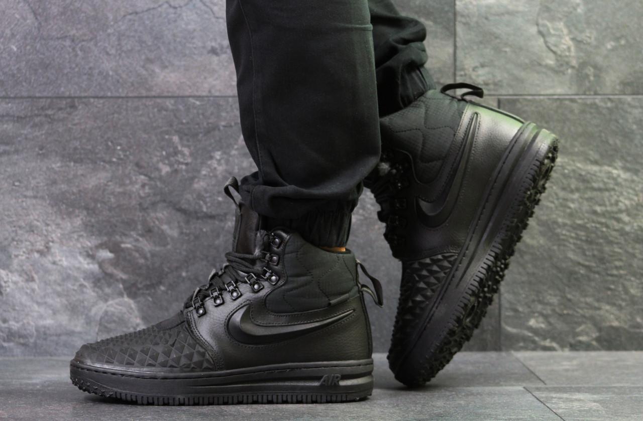 Кроссовки мужские Nike Lunar Force зимние повседневные удобные высокие теплые под джинсы (черные), ТОП-реплика