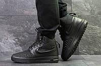 Кроссовки мужские Nike Lunar Force зимние повседневные удобные высокие теплые под джинсы (черные), ТОП-реплика, фото 1
