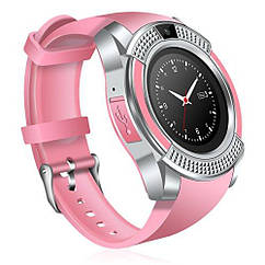 Наручные смарт часы V8 Smart Watch розовые женский. Лучшее качество